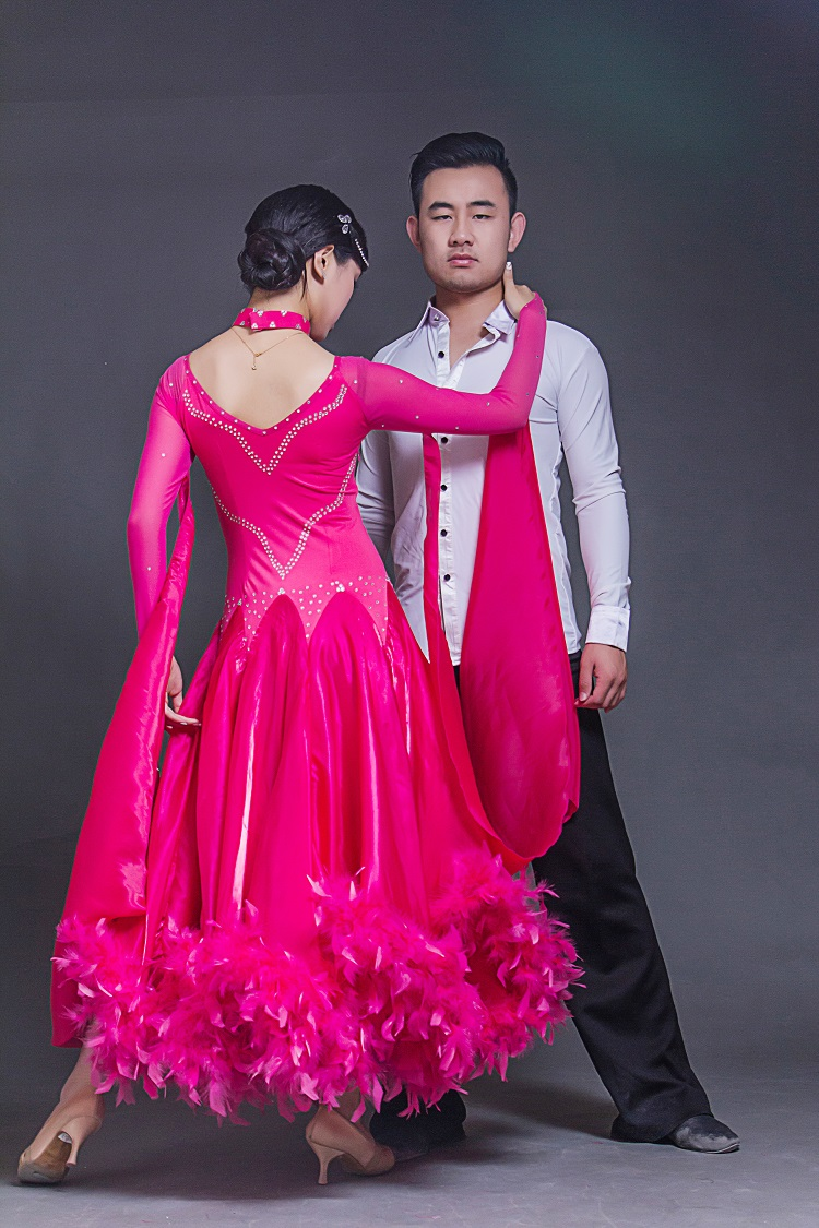new big wing red feather modern dance dress for performance woman long sleeves waltz tango ballroom Dance competition Costume(China (Mainland))