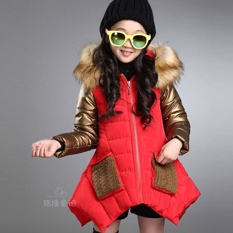 2015 girl childrens winter clothes cotton-padded jacket coat for girls kids clothing warm outdoors hooded fur outerwear coats<br><br>Aliexpress