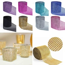 Buy 1yard/91.5cm 24 Row Fashion Mesh Trim Bling Wrap Cake Roll Tulle Crystal Ribbons Party Wedding Decoration Event Party Supplies.W for $1.37 in AliExpress store