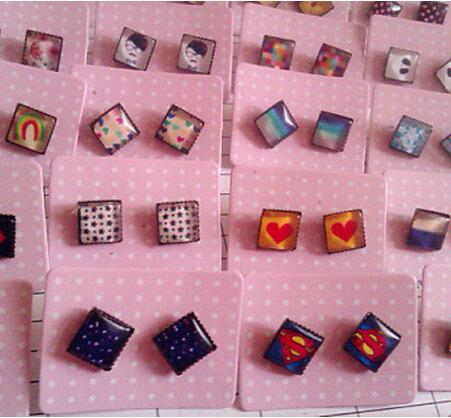 (MIN MIX ORDER IS $10) Vintage 8mm square the time gem magnet stud earring plaid pavans(China (Mainland))