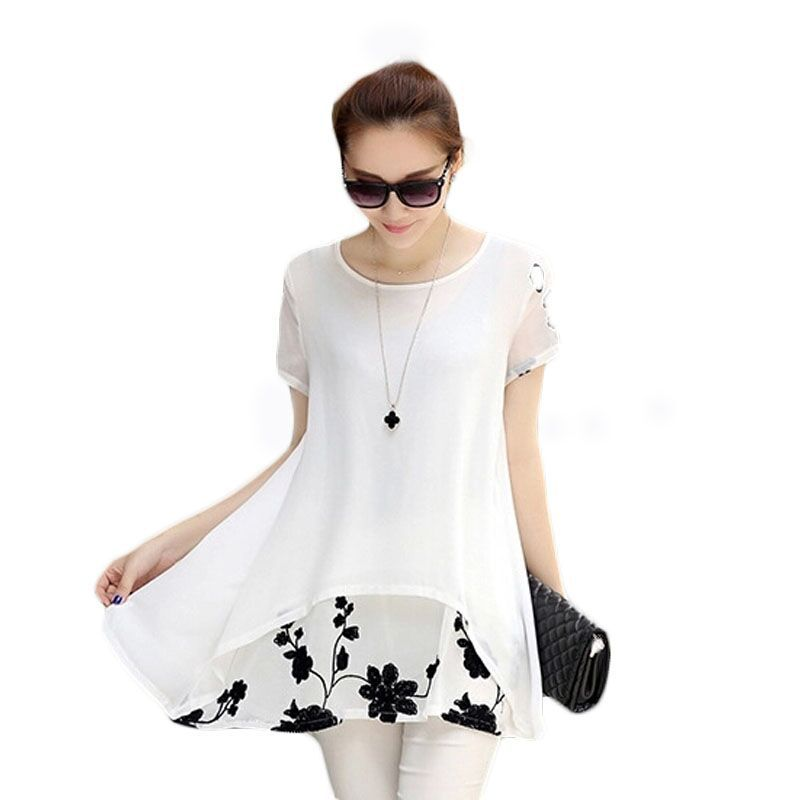 Women Blouses Summer Casual Clothing 2015 New Arrival Korean Style Plus Size Ladies Chiffon