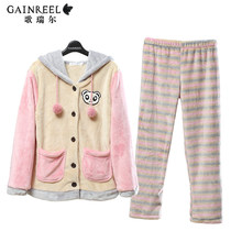 Winter song Riel striped flannel pajamas cartoon couple of men and women who star Nan comfortable