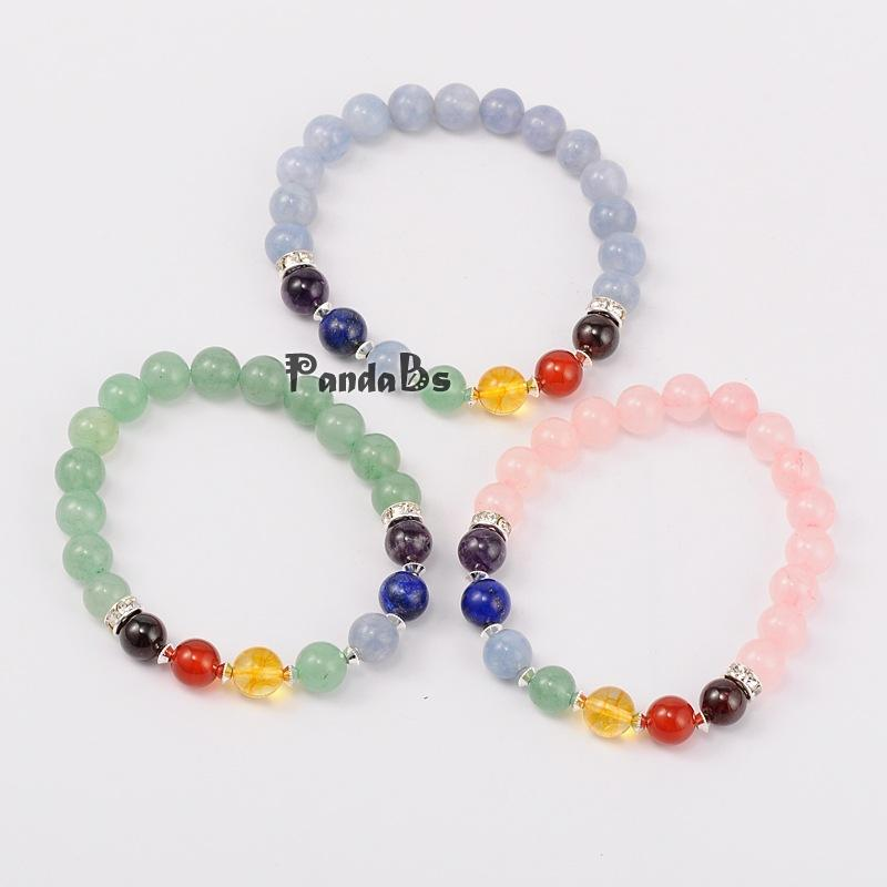 natural stone stretch chakra bracelets, with brass findings, silver, mixed color, 55mm<br><br>Aliexpress