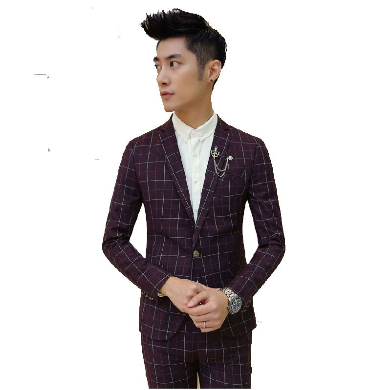 2016 (Jackets+Pants) High quality mens casual plaid wine red suit ,plaid blazer men, wedding dress,free shipping,2 colorsОдежда и ак�е��уары<br><br><br>Aliexpress