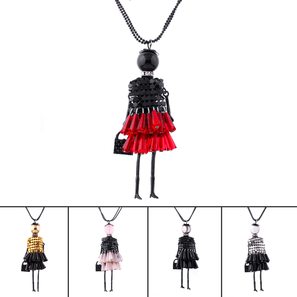 5 Colors Fashion Lady Doll Beads Charms Body Chain Choker Long Necklace & Pendant Statement Necklace Women Collares Colars LS42(China (Mainland))