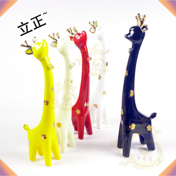 Ceramic sika deer red black yellow animal lovers decoration gift new house accessories