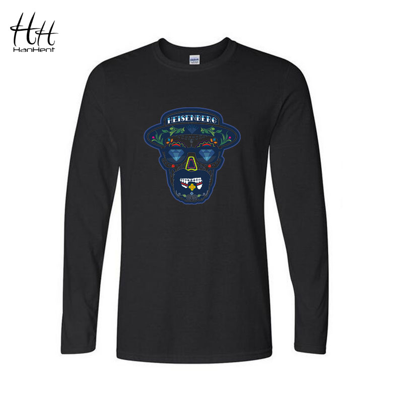 Breaking Bad Heisenberg Blue Head T Shirt 2016 Spring Casual Men Long Sleeve Cotton Tshirts Swag
