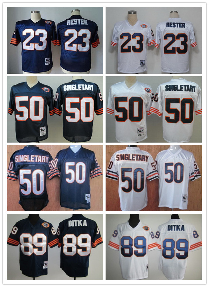 Sport Jersey Men's 23 Devin Hester 50 Mike Singletary 89 Mike Ditka top quality throwback Football Jersey(China (Mainland))