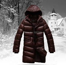 2014 new men's winter down coat thick horn button stitching suede hooded coat warm jacket male (4 colors) M~4XL