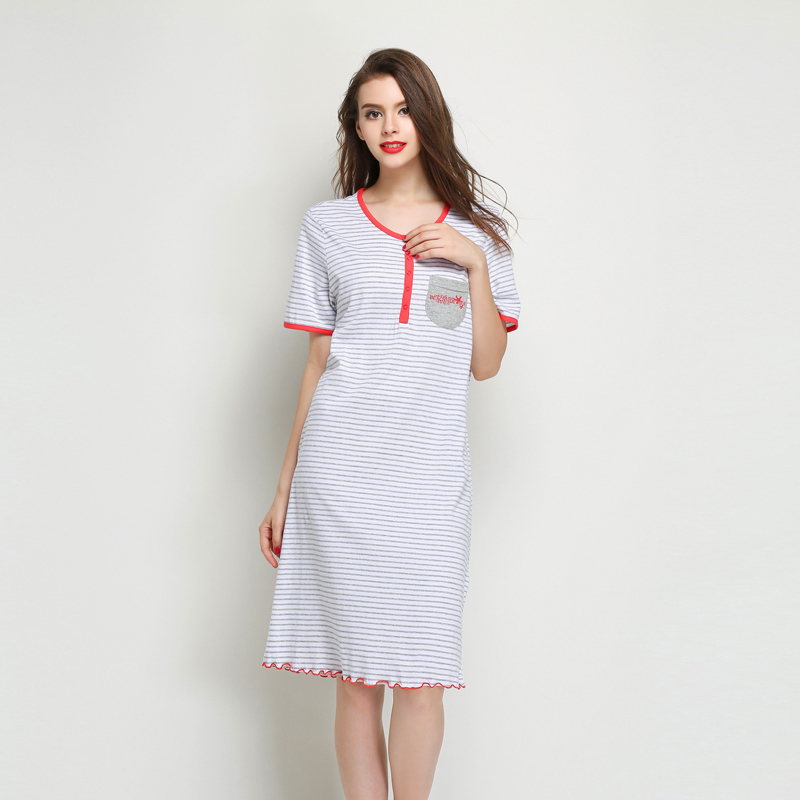 Stripe short-sleeve nightgown women's thin summer sleepwear maternity mm medium-long plus size lounge(China (Mainland))