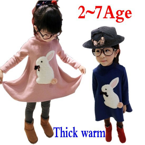 Гаджет  Winter 2~7Age girl dresses Kids girls bow dress Thick warm Cute cartoon solid color long-sleeved dress free shipping None Детские товары