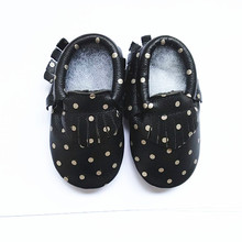 New printing Genuine Leather Polka dot  Baby Moccasins Soft bottom Baby Shoes First Walker Chaussure Bebe newborn shoes(China (Mainland))