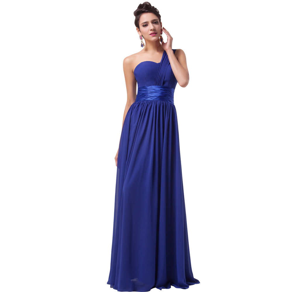 Grace karin one shoulder royal blue chiffon long evening for Blue long dress wedding