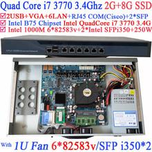 Ufficio router 1u network router per il lavoro con intel quad-core i7 3770 3.4 ghz 2g di ram 8g ssd