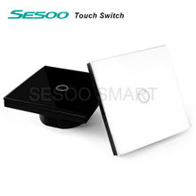 EU/UK Estándar SESOO Touch Switch 1 Gang 1 Way, Interruptor de la Pantalla Táctil de Luz de Pared, Cristal De Vidrio Panel de interruptores(China (Mainland))