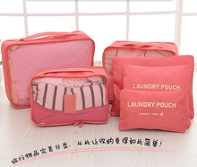 6pcs/set Travel Accessories Fashion Waterproof Polyester Men and Women Travel Packing Organizer Bags(China (Mainland))