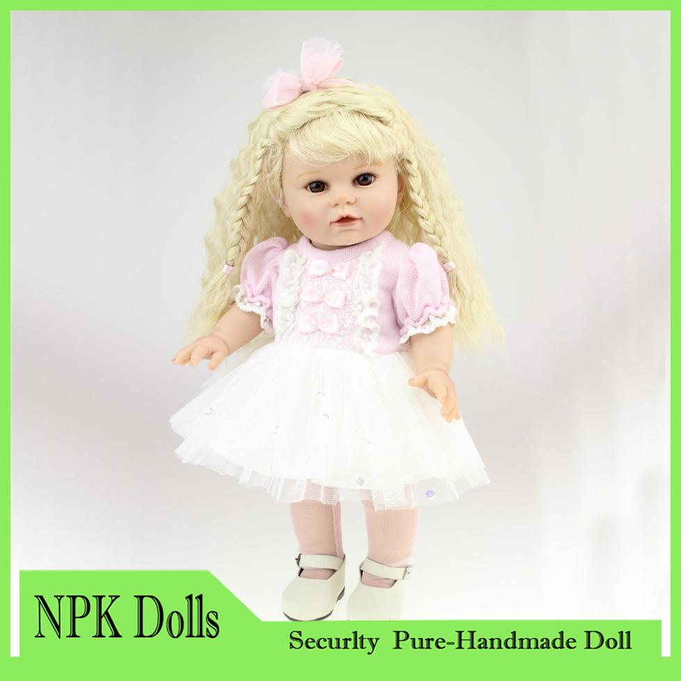 18'' 45CM AMERICAN GIRL Long Blond curls Pink Color full handmade Reborn Baby dolls SOFT silicone vinyl newborn baby doll(China (Mainland))