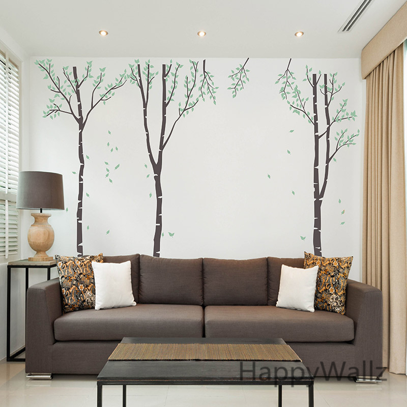 birch tree wall sticker family tree wall decal diy large 85 26cm diy wall stickers decal removable black bird tree
