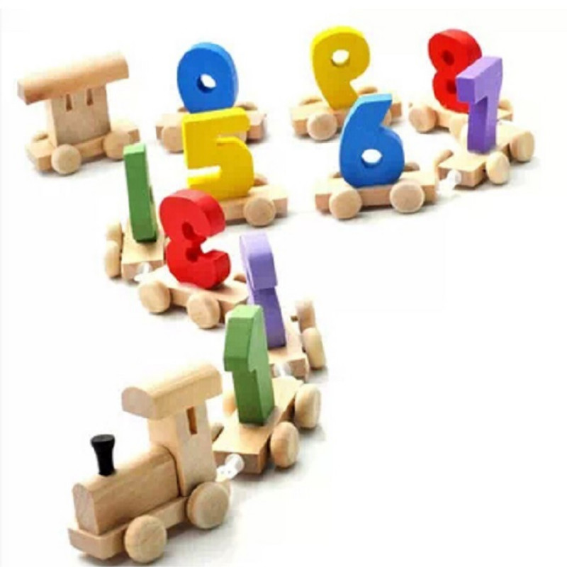Children Cartoon Number Mathematics Wood Train Shape Toys Education Intellectual Development Children Kids Toys Free Shipping(China (Mainland))