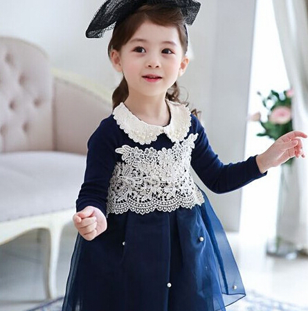 New Autumn Long Sleeve Peter Pan Collar  Lace  Pearls  Girls Dress  Children Beading Mesh Dress Girls Princess Dress Navy Pink <br><br>Aliexpress