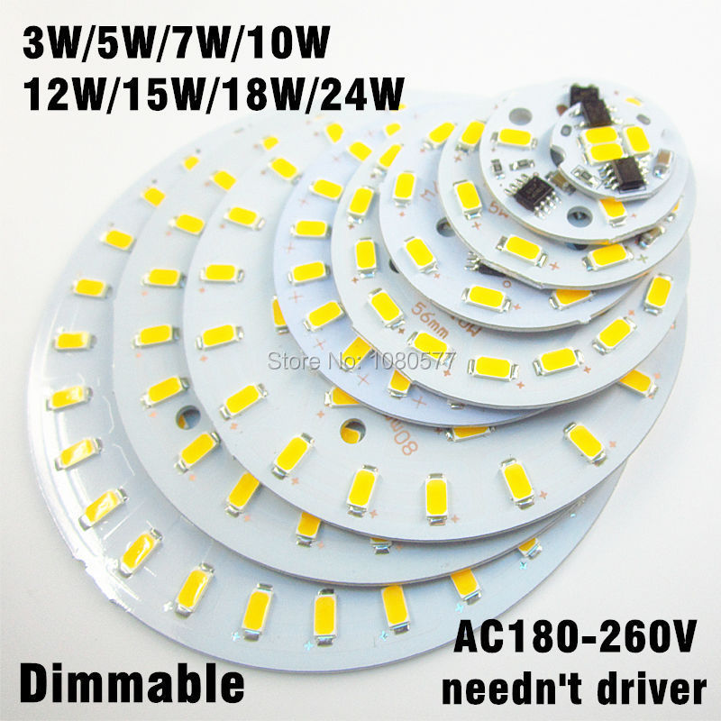 ac 220v SMD 5730 aluminum led pcb 3w 5w 7w 10w 12w 15w 18w 24w integrated driver lamp plate White/ Warm White For LED Bulb(China (Mainland))