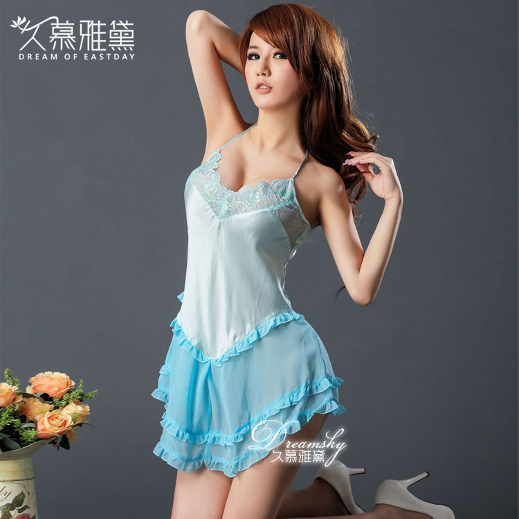 Supper quality 100% silk lingerie sexy babydoll lenceria erotic girls dress nighty blue color size L, M Eros-sexy-325(China (Mainland))