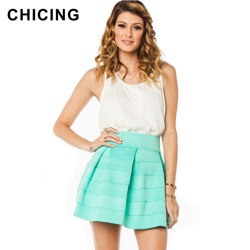 CHICING 6 Colors Spring Summer 2016 Mint Neon Green Orange High Elastic Striped Casual Mini Skater Skirts Saia Plus Size AZP04(China (Mainland))