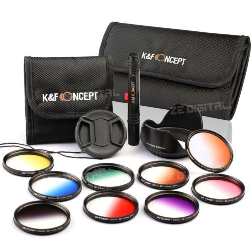 9pcs For Nikon D3100 D3200 D5100 D5200 DSLR Camera 52mm Lens Graduated Color Filter Kit +Cleaning Pen(China (Mainland))