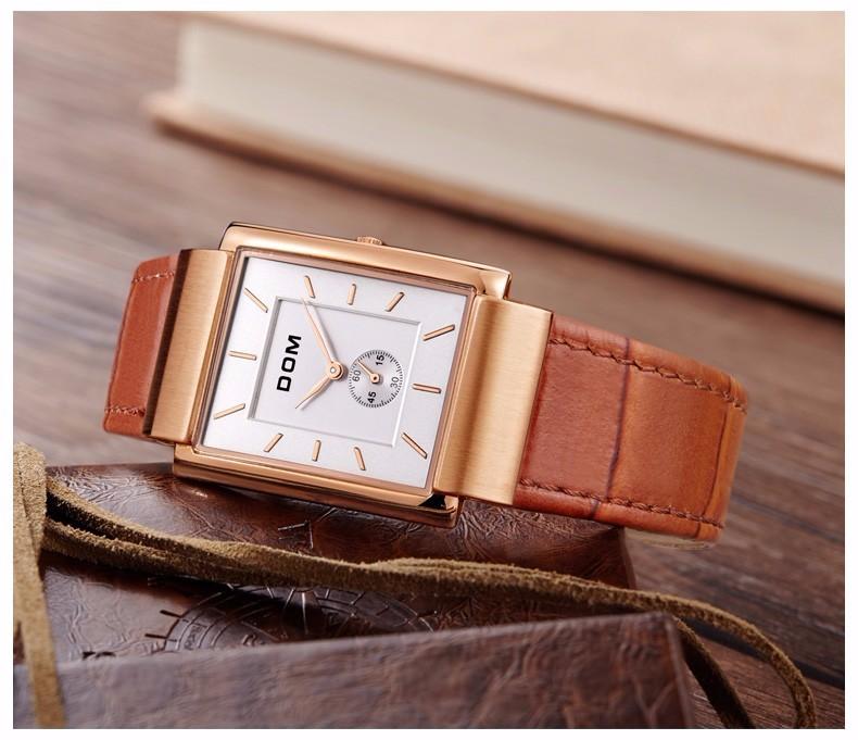 DOM 2016 Мужчины Аутентичные Кварцевые Часы Моды Личности Водонепроницаемый Полые Часы Кожаный Ремень Повседневная Наручные Часы