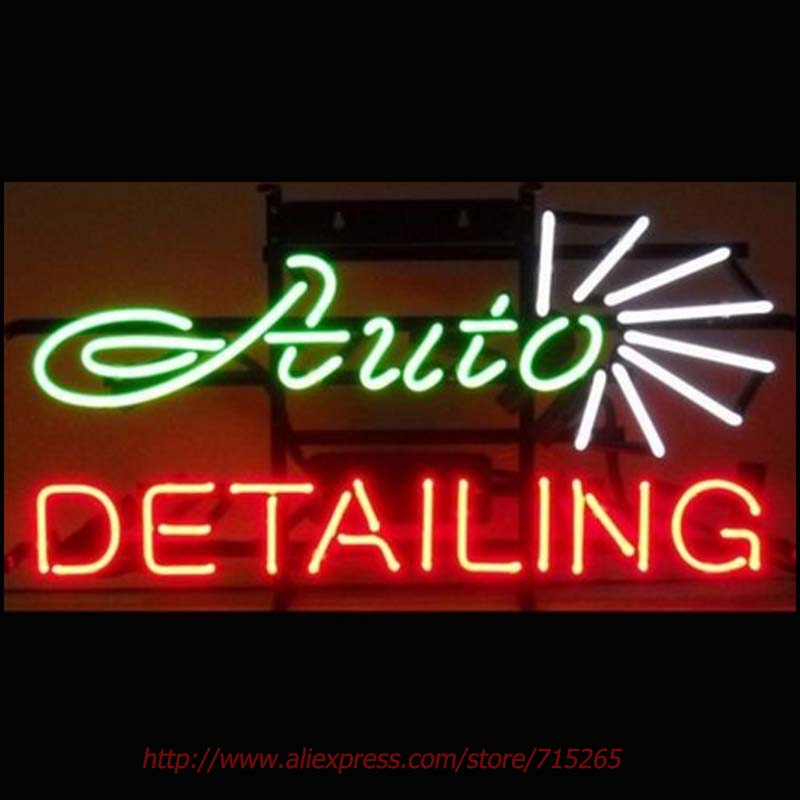 AUTO DETAILING CAR Neon Bulbs Real Glass Tube Handcrafted Real Recreation Garage Display Attract hotel sign High Quality 17x14(China (Mainland))