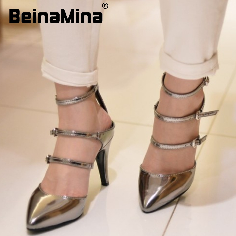 women real genuine leather pointed toe party cross strap high heel sandals brand sexy fashion lady heeled shoes size 33-40 R6877<br><br>Aliexpress