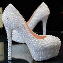 High Heels white pearls, Women crystal Pearls wedding shoes, bridal shoes Platform princess bridesmaid dress shoes women(China (Mainland))
