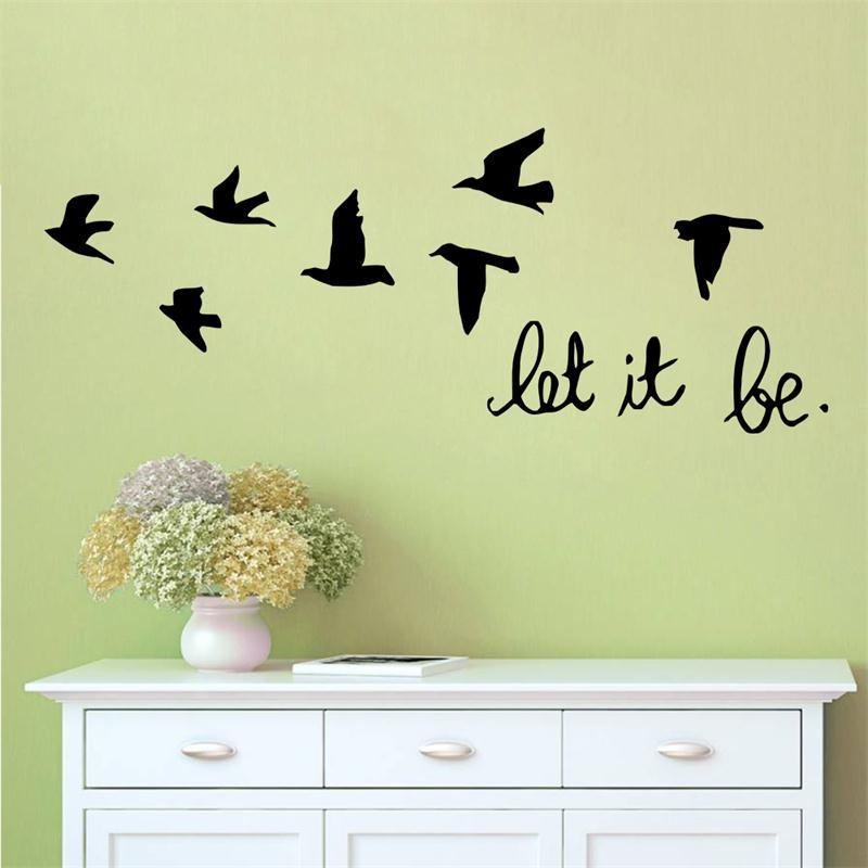 3D birds flying let it be quotes stickers for kids room living room cartoon cute birds diy vinyl wall stickers PVC home decor(China (Mainland))