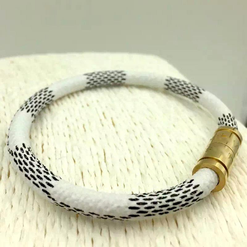 2015 Luxury Fashion Brand Stainless Steel Jewelry Genuine Leather Bracelet pulseiras Plaid Magnet Men Women Bracelets