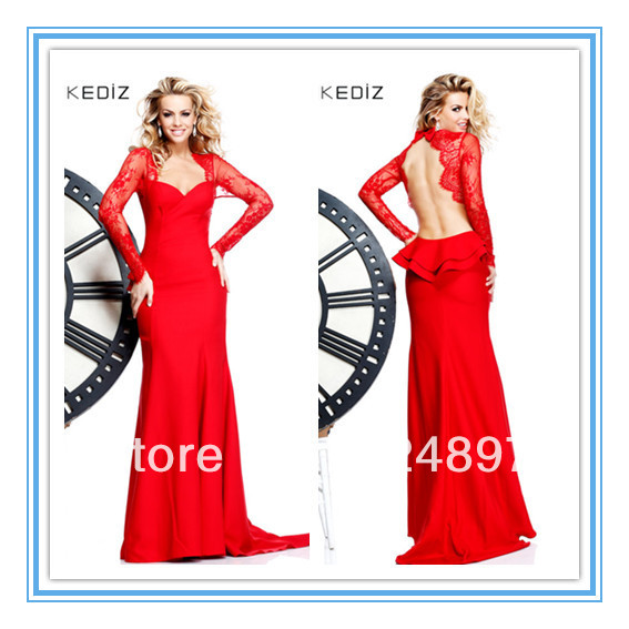 Sexy Red Long Sleeve Backless Indian Style Prom Dresses(EVTA-1009)(China (Mainland))