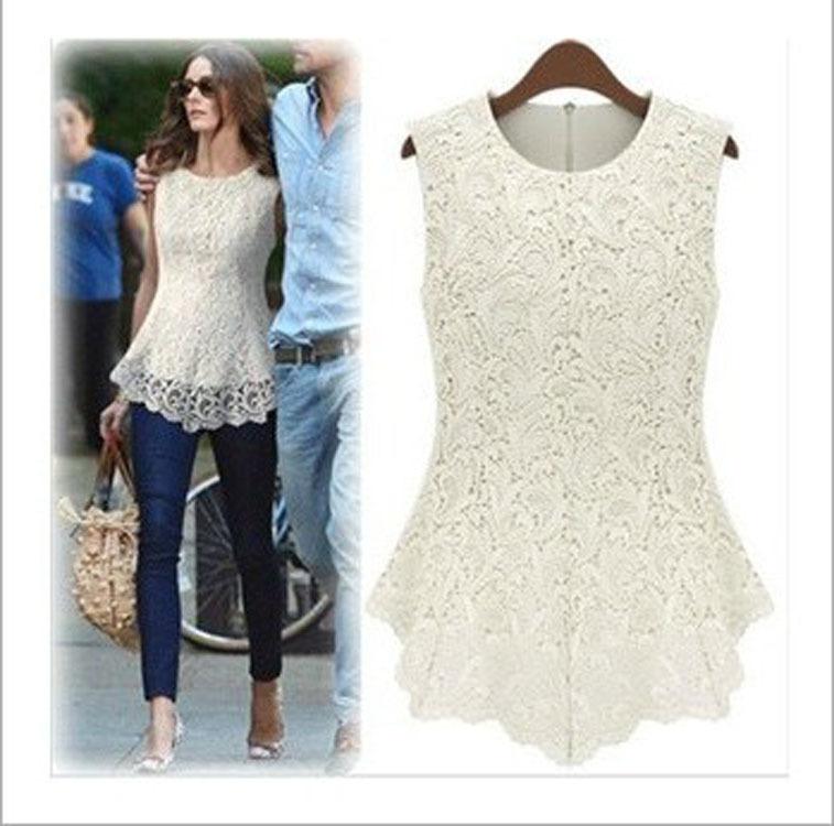 New 2014 Desigual Women White Lace Blouses Sexy Plus Size Crochet Lace Tops Women Blusa Renda Sleeveless Shirts 5017(China (Mainland))