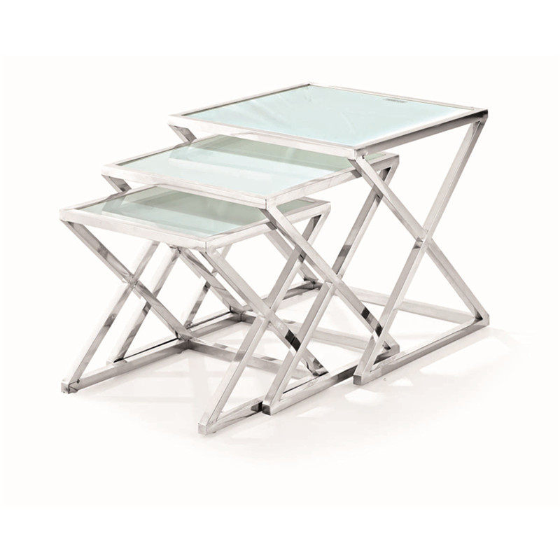 Modern side table,small coffee table, 3pcs is set, stainless steel end table send from China(China (Mainland))