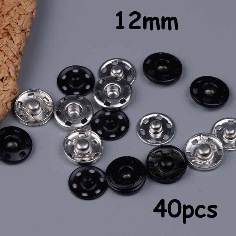 12mm 40pcs black and white two colors snap button Anti-rust snap-fastener Invisible snaps metal buttons sewing accessories(China (Mainland))