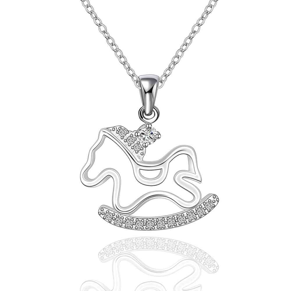Free Shipping best friends silver plated necklaces & pendants horse running white hair collares mujer Gift for her(China (Mainland))