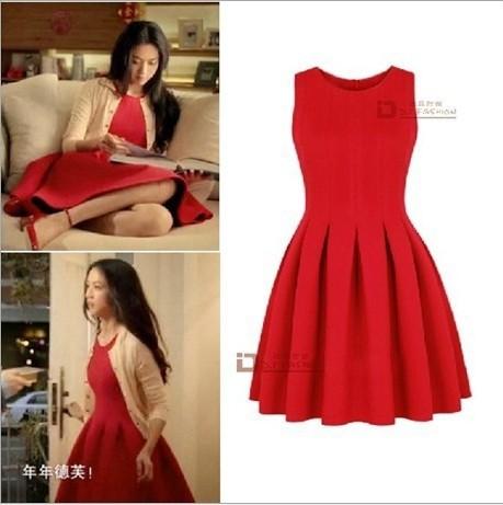 Puff dress folds Fashion color block decoration slim waist short design sleeveless Women's Dresses Red women - Online Store 923589 store