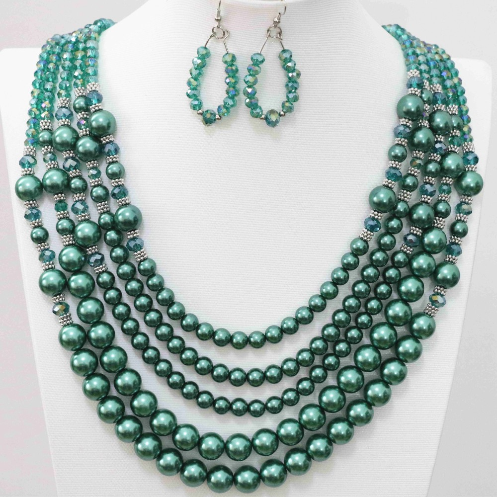 Fashion crystal glass abacus faceted round shell simulated-pearl beads color earrings 5rows necklace jewelry set 20-25.5″B983-2