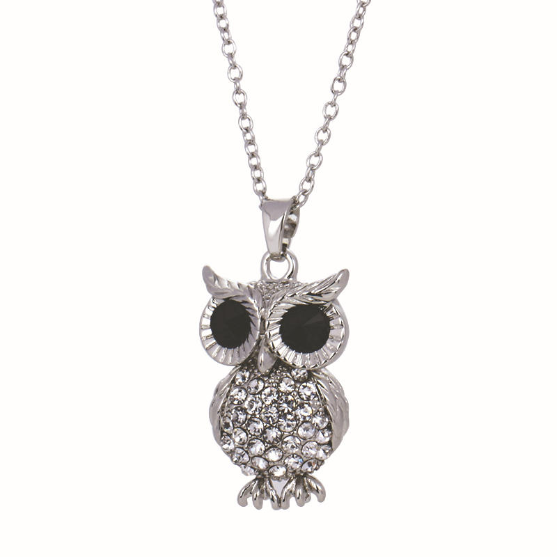Charms Women Jewelry Retro Charm Crystal Gem Cubic Zircon Diamond Silver Owl Long Chain Necklaces&Pendants - Yiwu Dorothy Bags store