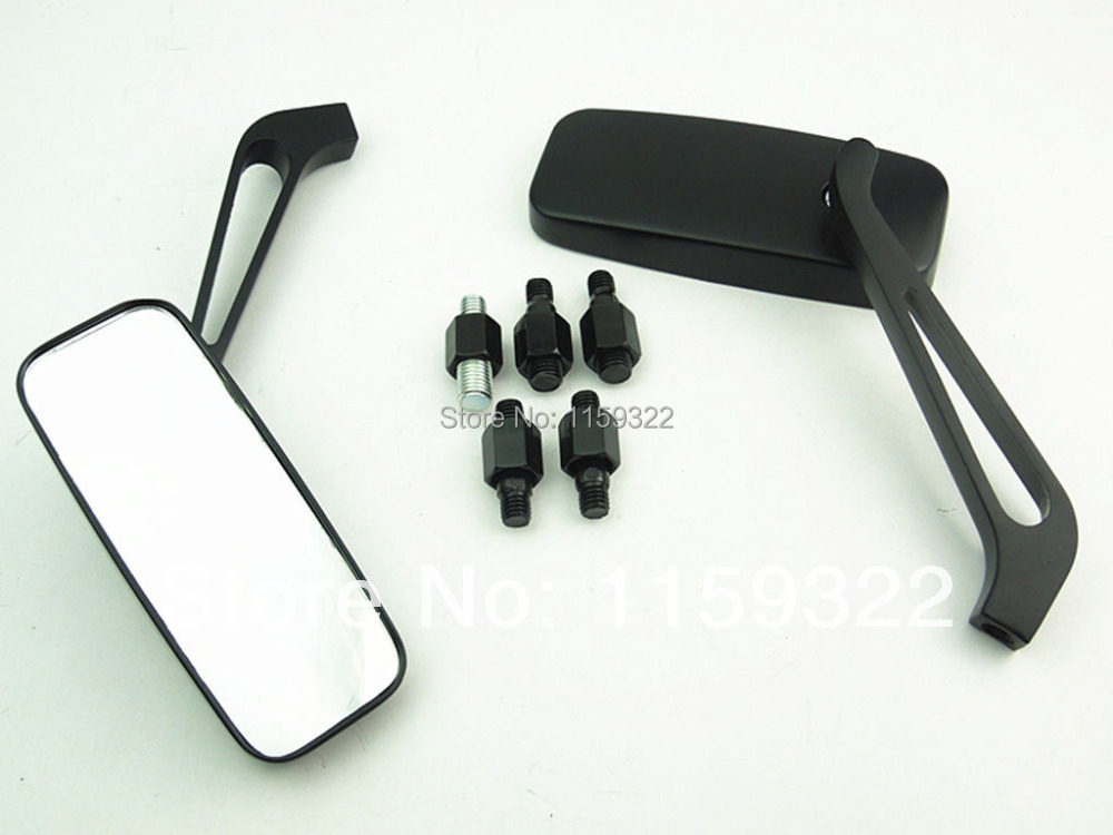 Motorcycle Black Rectangle Rearview Mirrors For Harley Motorcycle Cruiser Chopper Custom Free Shipping(China (Mainland))