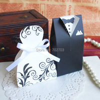 200 pcs/lot three different designs wedding party candy box 300g ivory board bride and groom favor box