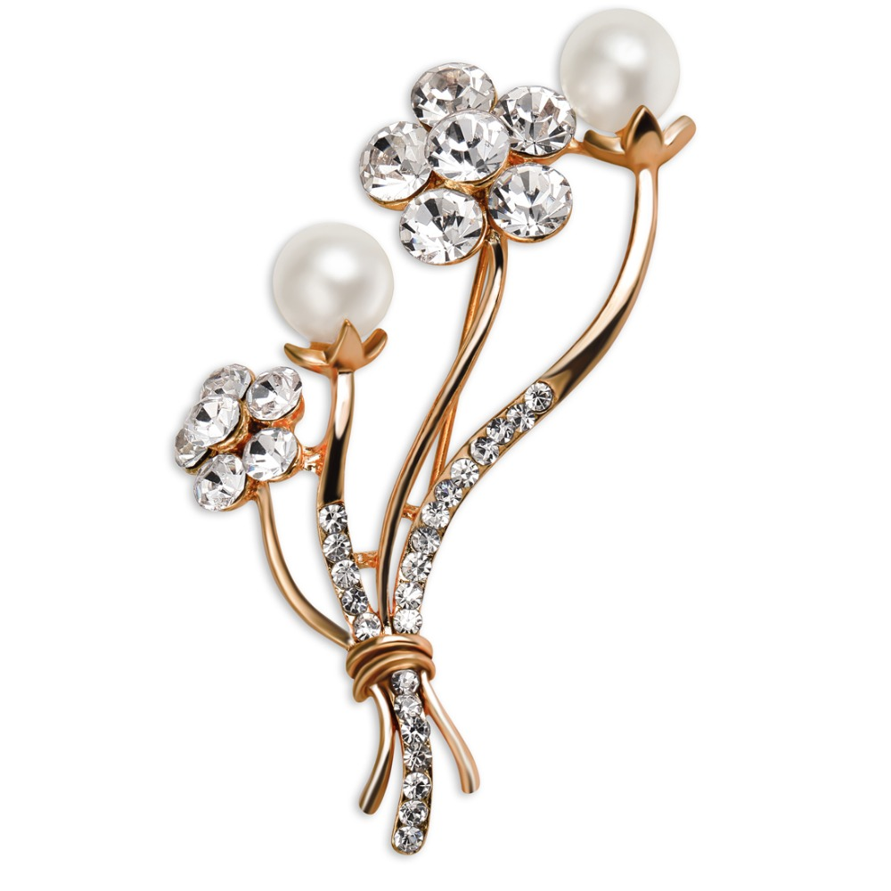 Elegant Simple Style Large Simulated Pearl Rhinestone Brooches For Women Wedding Bride Dressing Accessory Brooch Pins XZ0314(China (Mainland))