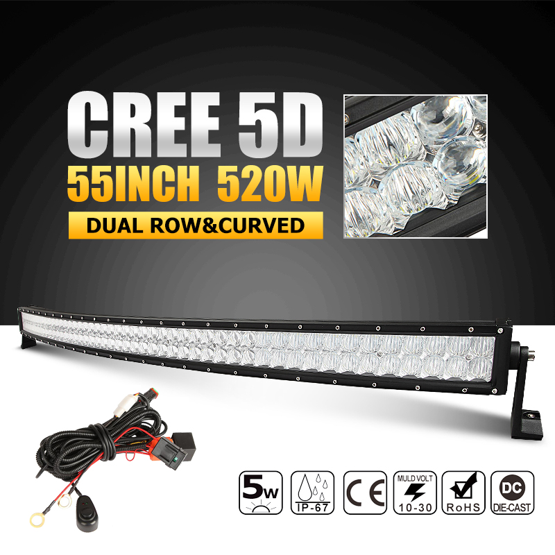 55 inch 520W 5D CREE LED Light Bar Curved Offroad Led Work Light Spot Flood Combo Beam for12v 24v Truck Wagon ATV SUV Pickup 4x4(China (Mainland))