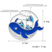 Gelombang Laut Bros dan Enamel Pin Paus Biru Payung Gelombang Gunung Es Kerah Pin(China)