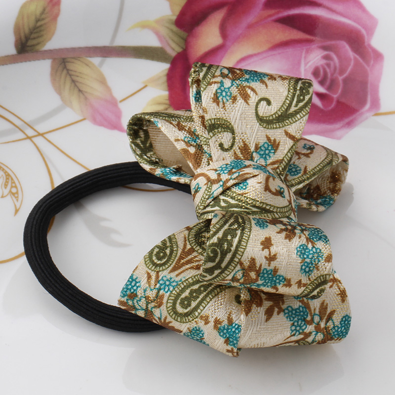 New Arrival Korean Style Girls Elastics Hair Tie Big Bow Dot Flora Hair Ponytail Rubber Hair Rope Elastic Hair Band(China (Mainland))