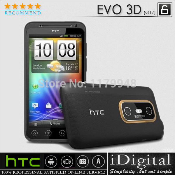 Original HTC G17 EVO 3D Unlocked Android OS 2.3 GPS WIFI 5MP 4.3''TouchScreen Smartphone Factory Refurbished(China (Mainland))