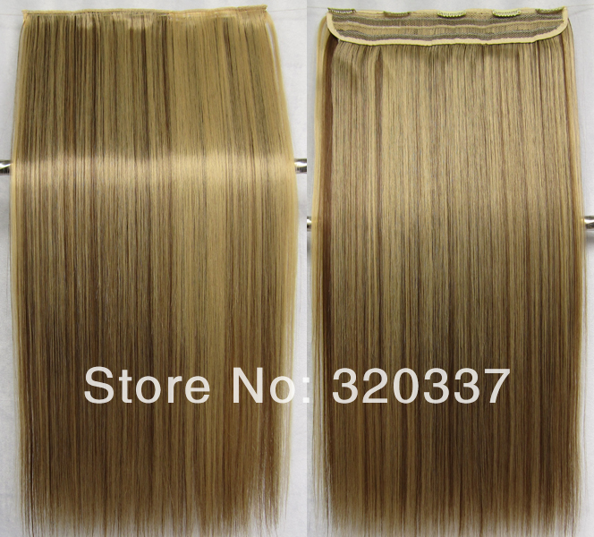 High Temperature Clip on Hairpieces Straight Long Highlighted Clip in on Hair Extensions Synthetic Hair #22/10 Mixed Brown Hair<br><br>Aliexpress